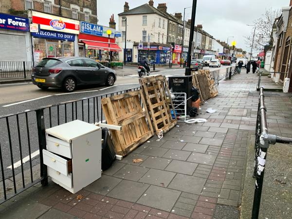 A loads of flyttiping over the High Strret North a disgrace in Newham . We need the Council Put CCTV and monitoring urgently -387a High Street North, London, E12 6PG