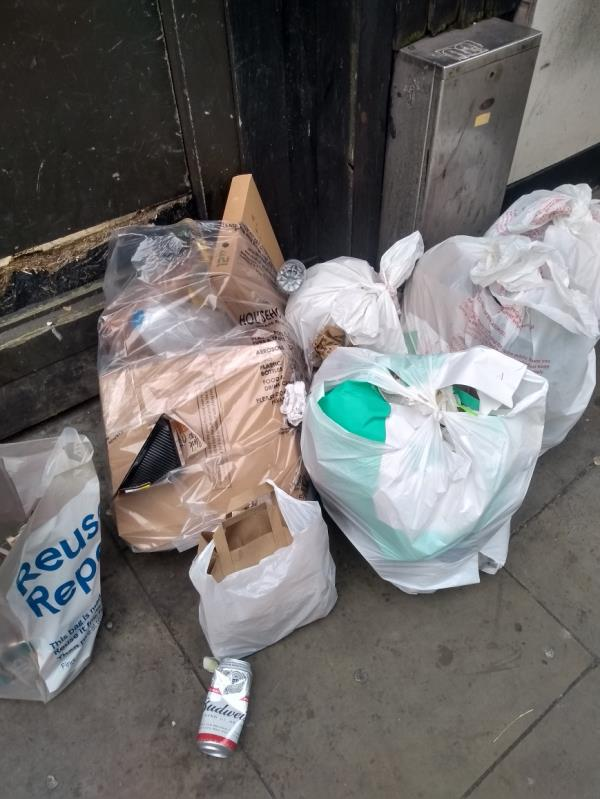 Lots of rubbish bags on the pavement next to the Royal Kitchen shop image 2-Statue House 53-54 Aldgate High Street, Aldgate, EC3N 1AL