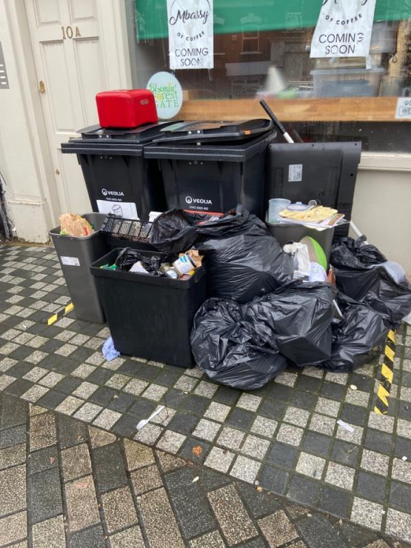 Rubbish d'unités outside Fred cafe -1a Sebert Road, London, E7 0NQ