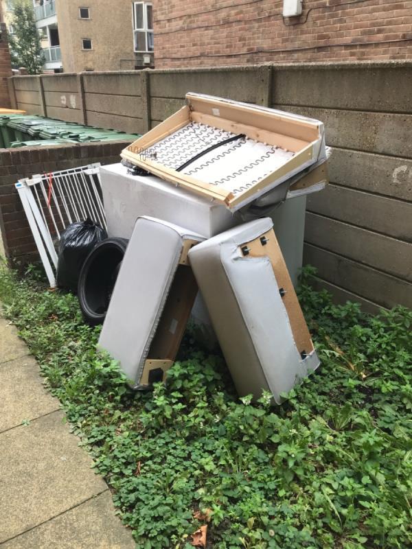 Rubbish left by tenants -24 Barnes Cl, London E12 5AU, UK