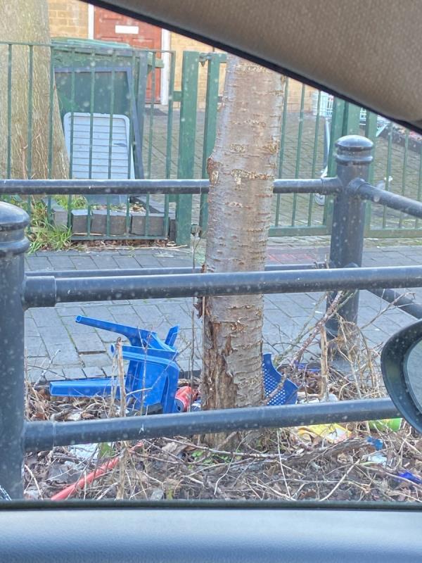 Chair and mopped dumped by tree outside 184 Windsor Terrace-184 Winsor Terrace, London, E6 6LB