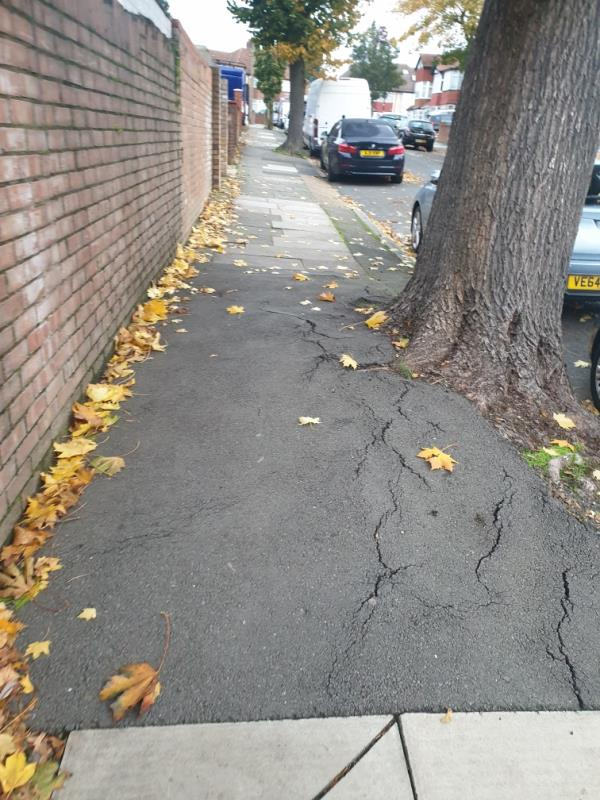 pavement by tree uneven due to tree routes-7a Knowsley Avenue, London, UB1 3AX
