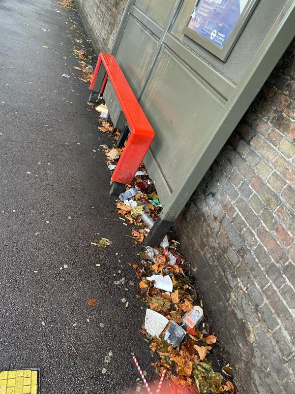 Bus stop covered in litter as always. -17c Gladding Road, Manor Park, E12 5DD