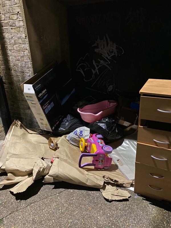 Pile. Up of rubbish near tesco -37 Raymond Road, Plaistow, E13 0SP