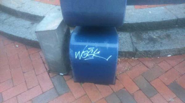 graffiti on the bench -52 Broad Street, Reading, RG1 2AA