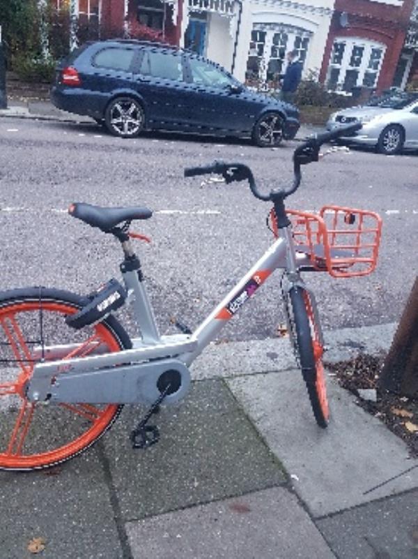 Bike abandoned on pavement outside 26 Kimberley Gardens N4 for over a week.-25 Kimberley Gardens, London, N4 1