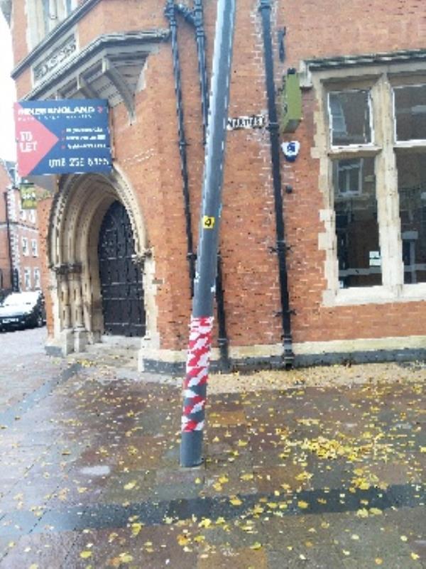 leaning light pole outside Delilah-19-19A St Martins, Leicester LE1 5DE, UK
