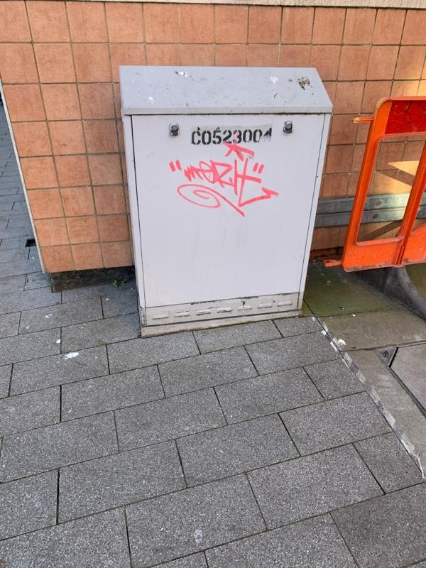 Graffiti on electrical box vestry street -89 Humberstone Gate, Leicester, LE1 1WB