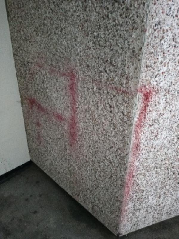 spray paint 6th floor by bin chute 28 Granville road-30 Granville Road, Reading, RG30 4EL