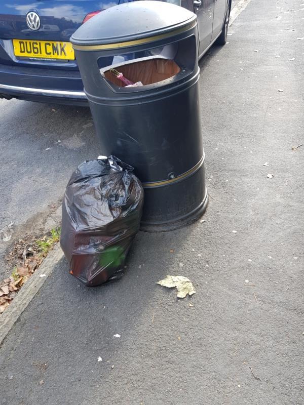 Black bag of rubbish on path-38 Edinburgh Road, Reading, RG30 2UA