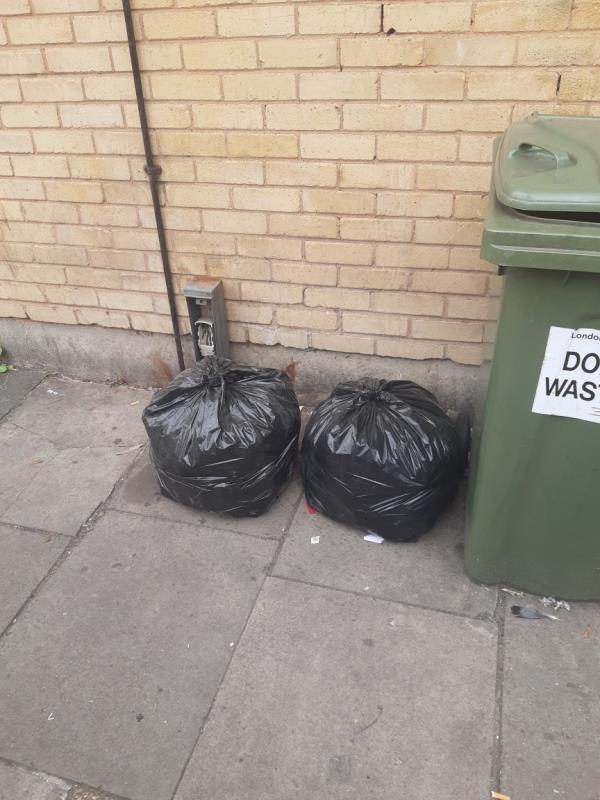 2x bags domestic waste no evidence -8 Waterloo Road, East Ham, E6 1AP
