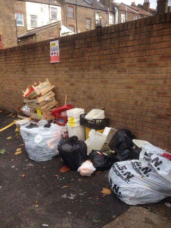Plastic buckets bags house hold waste-2 Milton Avenue, East Ham, E6 1BG