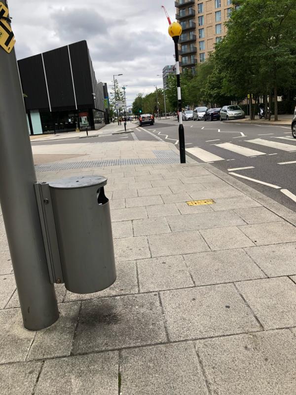 Bin full at corner of coubertan street-20 De Coubertin Street, London, E20 1AS