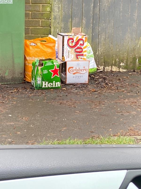 Rubbish pilled up along the pavement at Mayfield Road number 90 and 85 Mayfield Road -50 Mayfield Rd, Farnborough GU14 8UB, UK