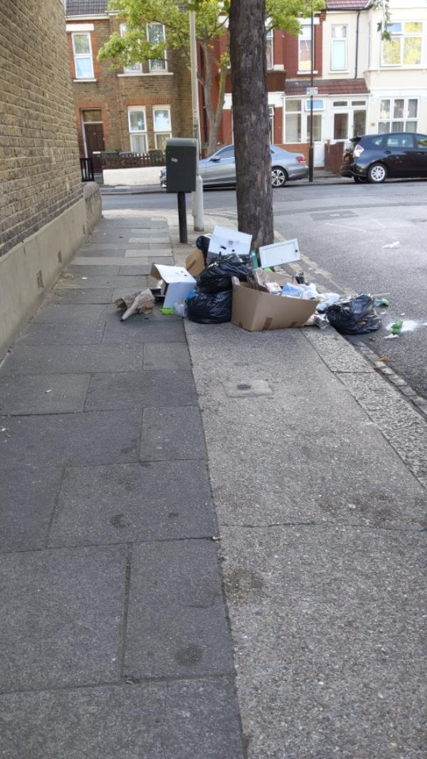 rubbish blocking pavement-13 Credon Road, Plaistow, E13 9BS