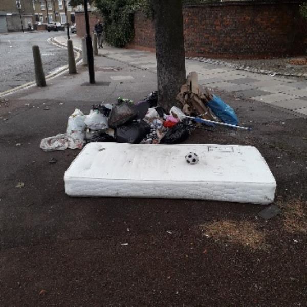 1 x mattress, 5 x black bags  cardboard, no evidence opp.89-81 Rochester Avenue, Plaistow, E13 9JL