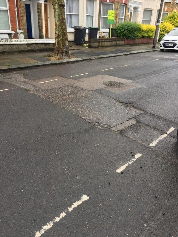 Pothole - keep haringey roads safe -78 Carlingford Rd, Duckett's Green, London N15 3EH, UK