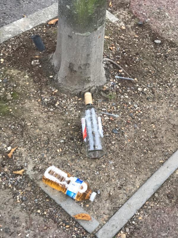 Glass wine Bottle , empty syringe & bottle of Urine! Absolute filth in tree pit opposite Odessa nursery enterance gate-17 Odessa Road, London, E7 9BY