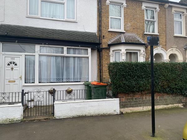Black spray paint on parking sign-122 Frinton Road, East Ham, E6 3HF