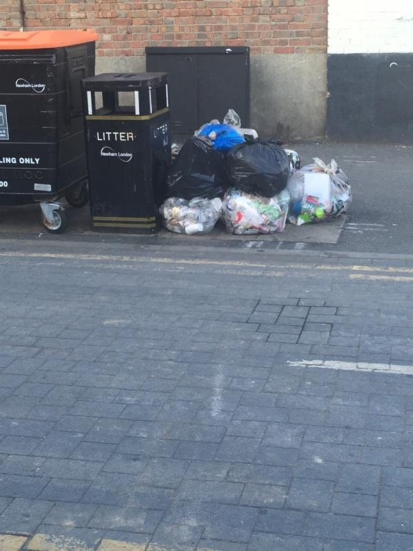 Black bags added to street cleansing bags -169 Forest Lane, London, E7 9BB