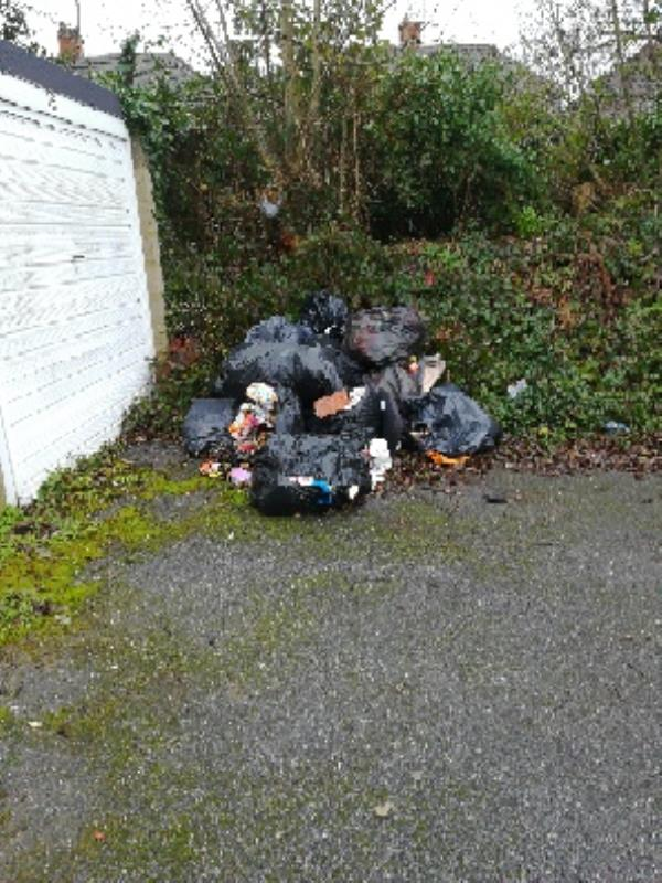 Flytipping outside garage 15 Highmead Close-26 Highmead Close, Reading, RG2 7NG