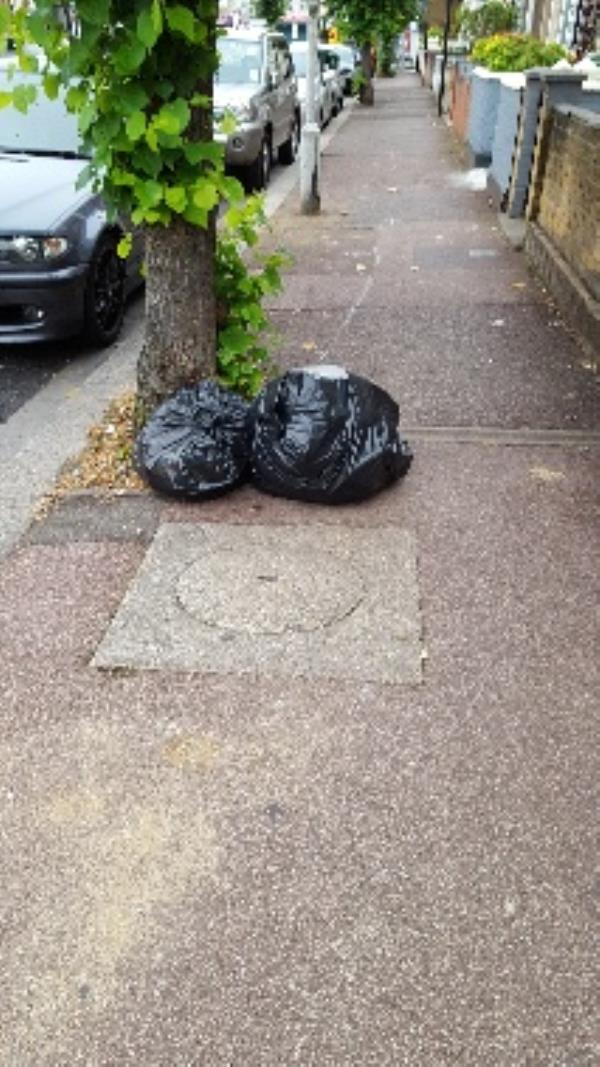 2 black bin bags dumped outside 380 monega road-362 Monega Road, London, E12 6TY