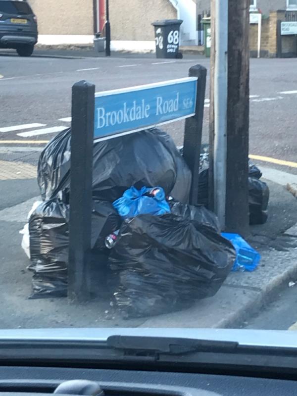 Refuse sacks-70 Brookdale Road, London, SE6 4JP