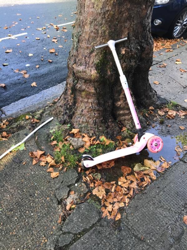 Childs scooter left on the street-94 Henniker Gardens, East Ham, E6 3HS