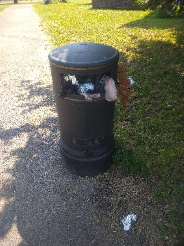 Bin full of domestic waste -114 Hartland Road, Reading, RG2 8BT