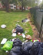 This is the state of the grounds of the flats on Aikman Avenue, this is at the back near Glengarry Way. This is a regular occurrence so expect me to keep reporting this problem -Deansburn House AIKMAN, Leicester, LE3 9JR