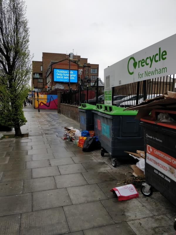 Flytipping in front of Henniker Point Leytonstone Road E15-60 Leytonstone Road, London, E15 1SQ