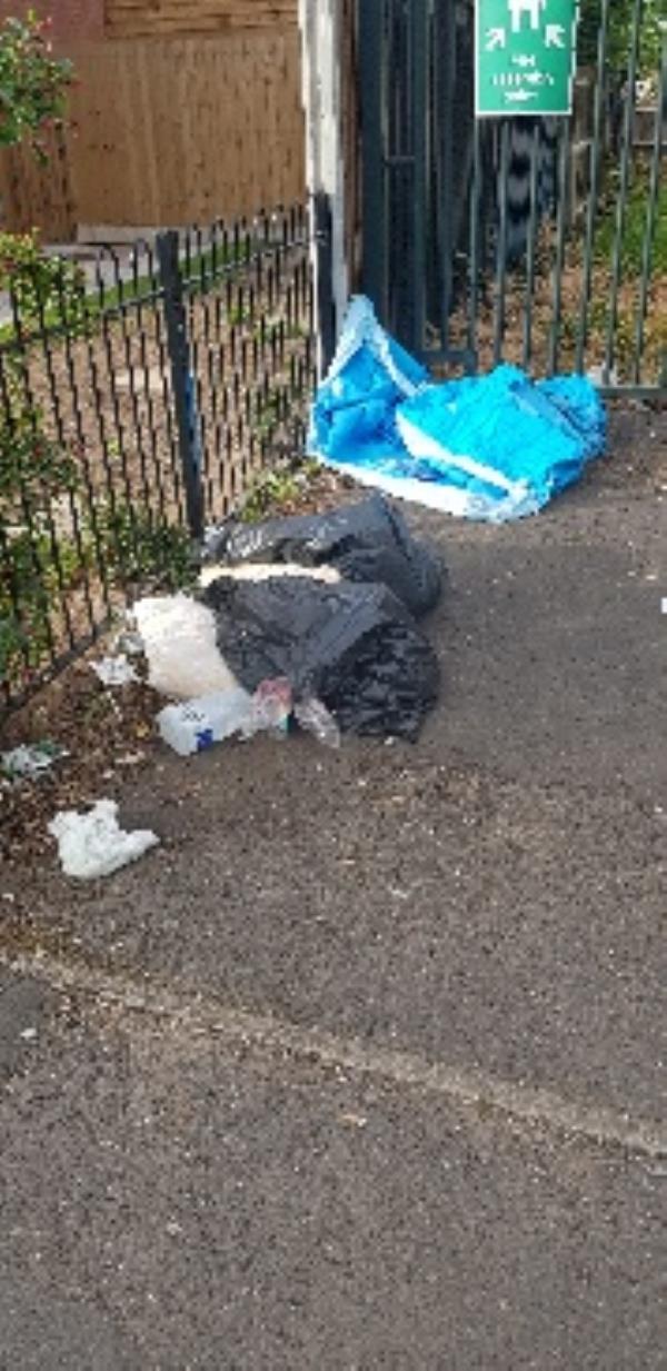 dumped household rubbish outside parade of shops on Harrowby Road.-Harrowby Arms, 48 Harrowby Rd, Wolverhampton WV10 6ES, UK