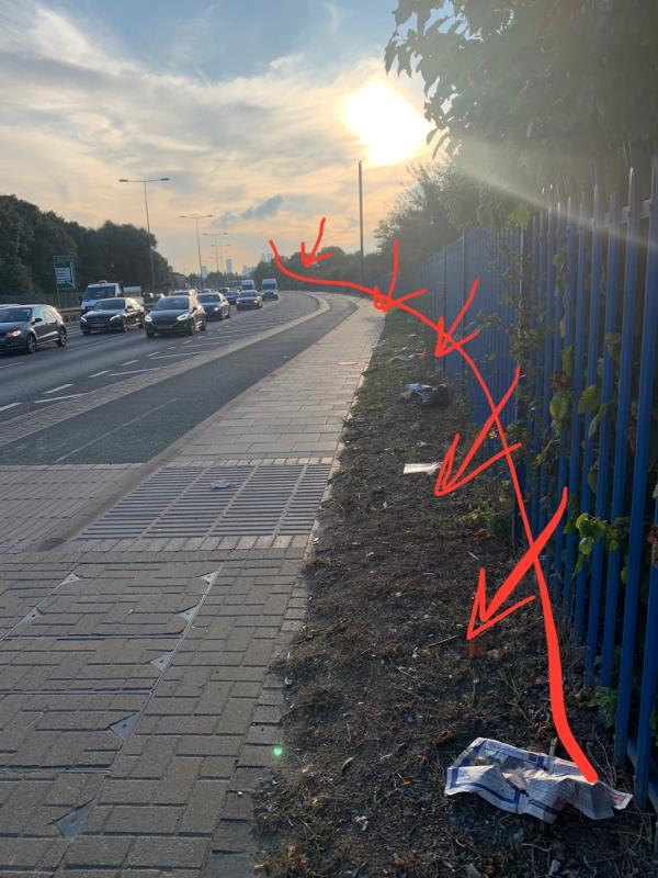 From here to Prince Regent Lane, the side of the A13  has litter everywhere-A13, London E13, UK