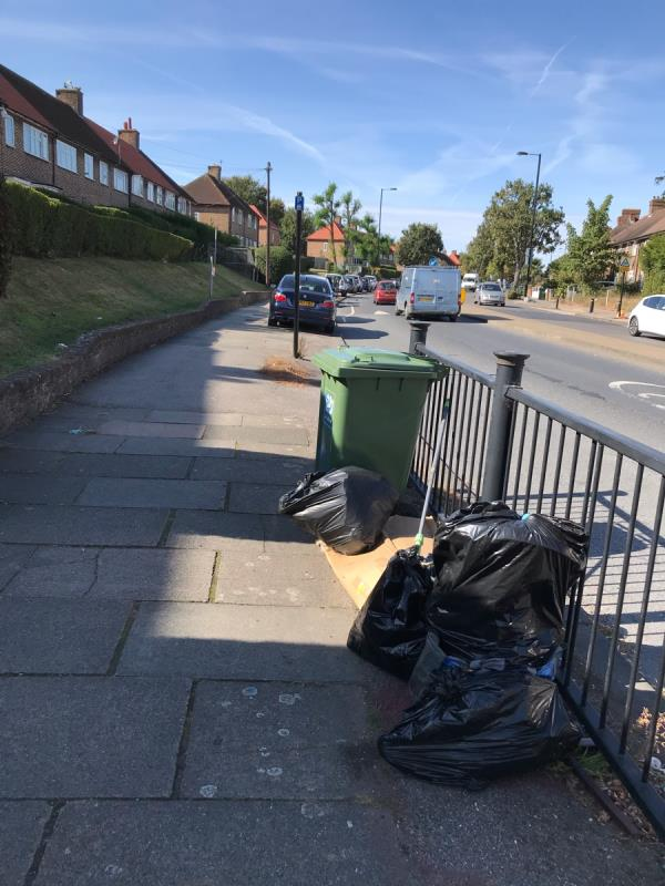 Southend lane opp 135 black sacks and cardboard. -100 Southend Lane, Bellingham, SE6 3DN
