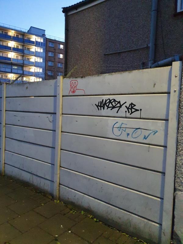 graffiti on wall-54 Tudor Road, London, E6 1DR