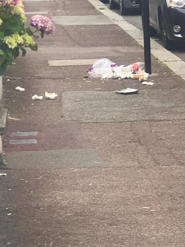 Food waste Litter on pavement -22 Thackeray Rd, East Ham, London E6 3BW, UK