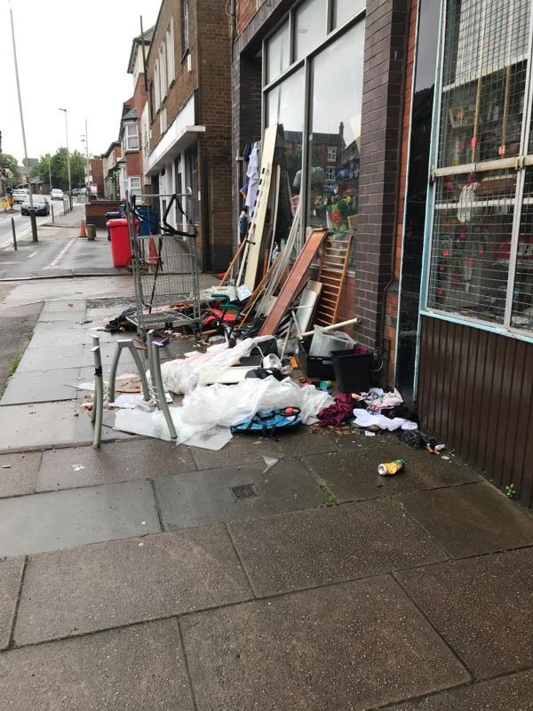 Large amount of rubbish dumped on Sparkenhoe Street-29 Sparkenhoe Street, Leicester, LE2 0JU