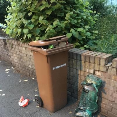 Garden waste bin full of food waste and rubbish left on pavement for 14days. Amhurst Road.-164C Amhurst Rd, Clapton, London E8 2AZ, UK