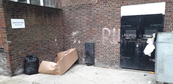 crandley court  boxes,  black bags with domestic waste -41 Crandley Ct, London SE8 5SA, UK