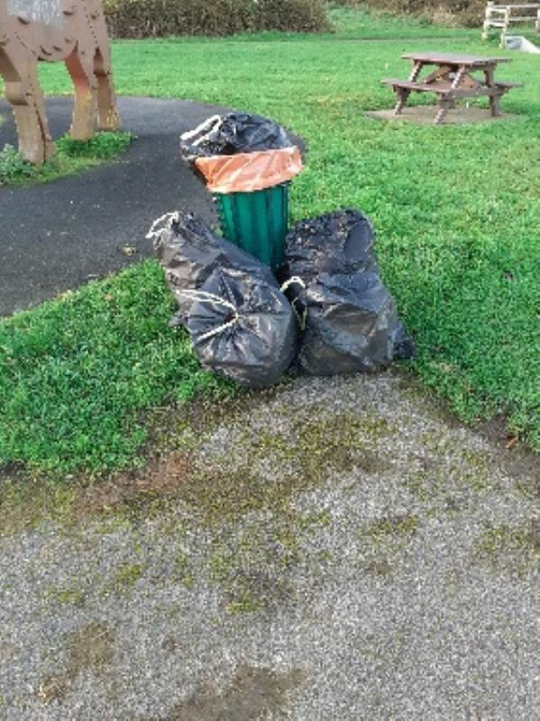 household rubbish left by park bi-38 Farmers Close, Reading, RG2 8UQ