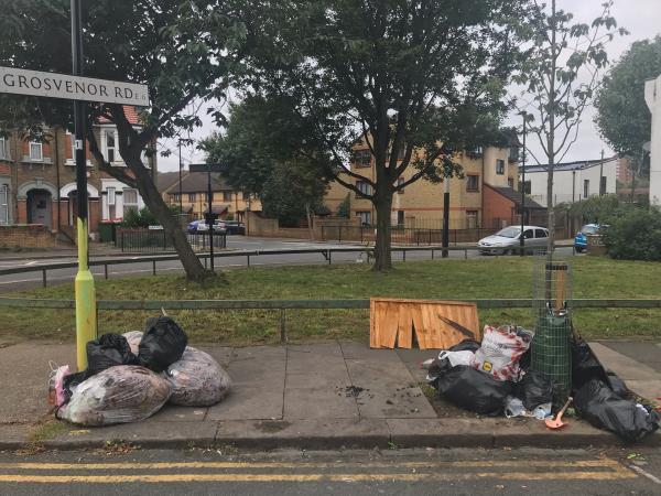 Pile of rubbish-54 Grosvenor Rd, London E6 1HE, UK