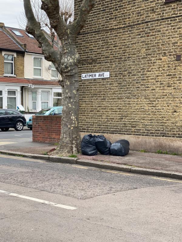 Black bags -90 Kempton Road, East Ham, E6 2LB