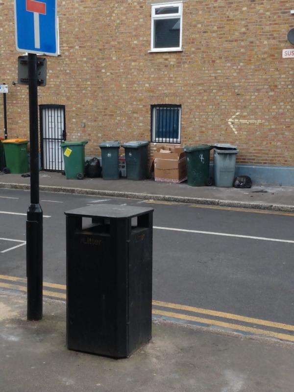 Black bags and cardboard, Sussex Street, Prince regent lane end-18 Prince Regent Lane, Plaistow, E13 8QG