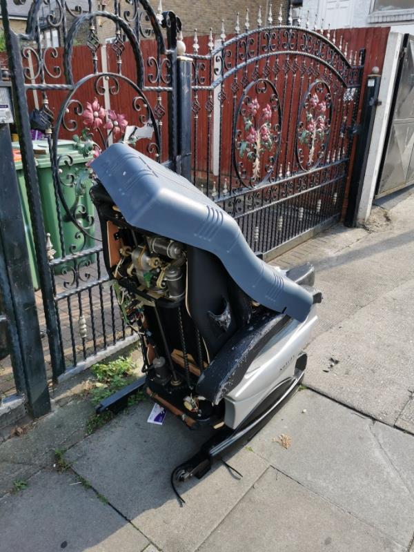 massage chair left on street-2 Manbey Park Road, London, E15 1EY