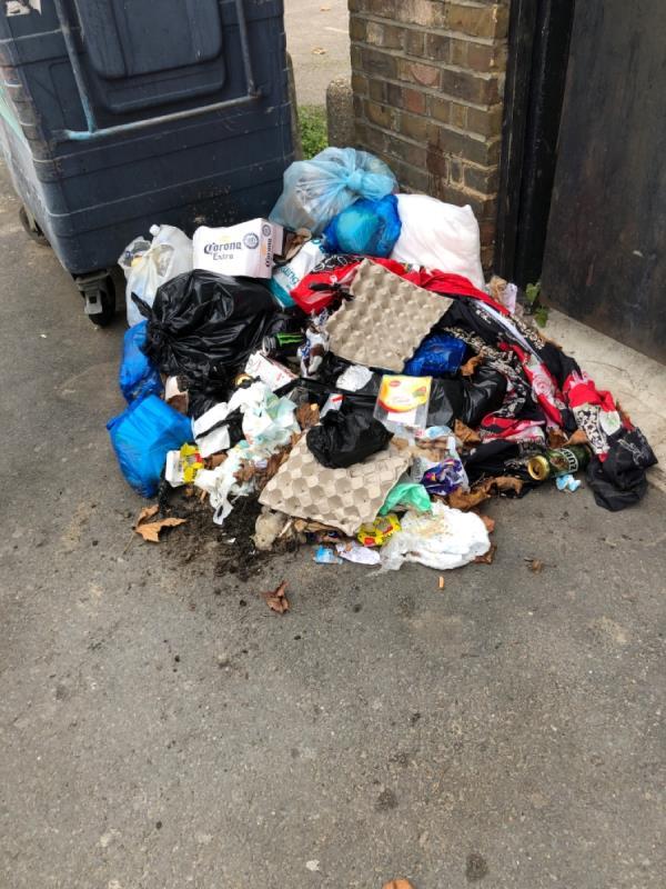 Rubbish on residentaial street-45C Woodgrange Rd, London E7 0QH, UK