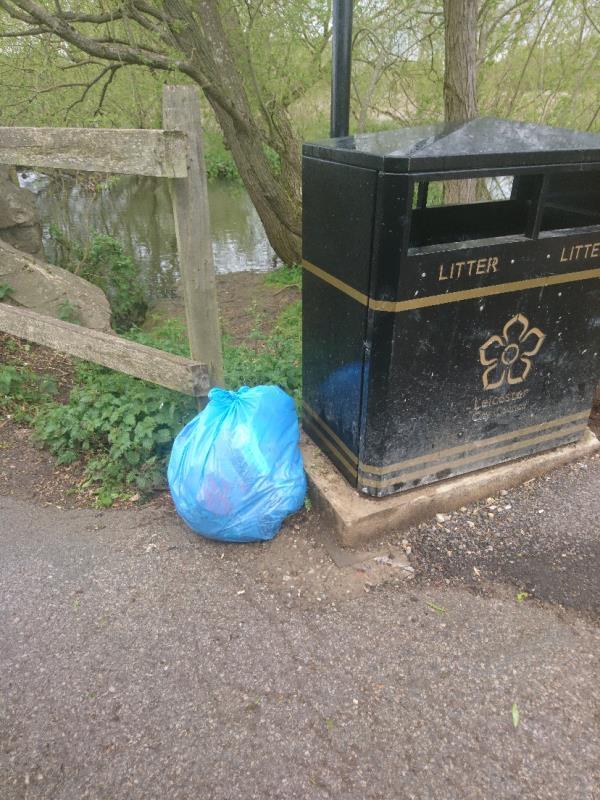 1 blue bag of litter picking left by the bin by aylestone packhorse bridge-95 Marsden Lane, Leicester, LE2 8LT
