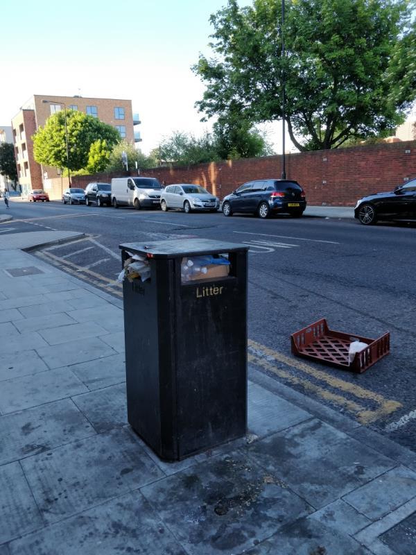 Flytipping and overflowing litter Bin box beside 91-97 Leytonstone Road E15-89a Leytonstone Road, London, E15 1JA