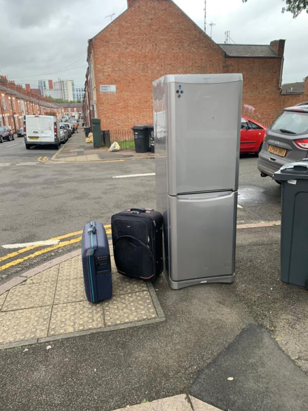 Dumped fridge and suitcases. -54 Dannett Street, Leicester, LE3 5RA