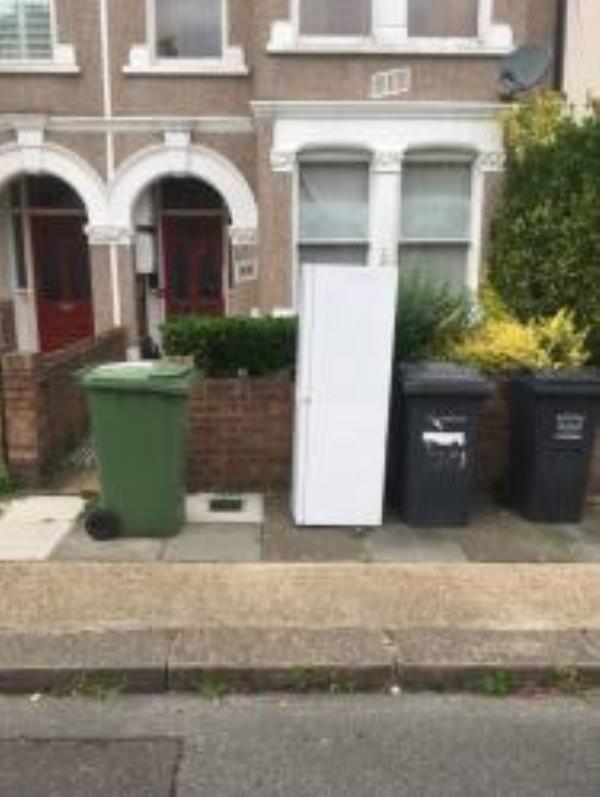 Please clear a Fridge. Reported via Fix My Street-54 Overcliff Road, Lewisham, SE13 7UA