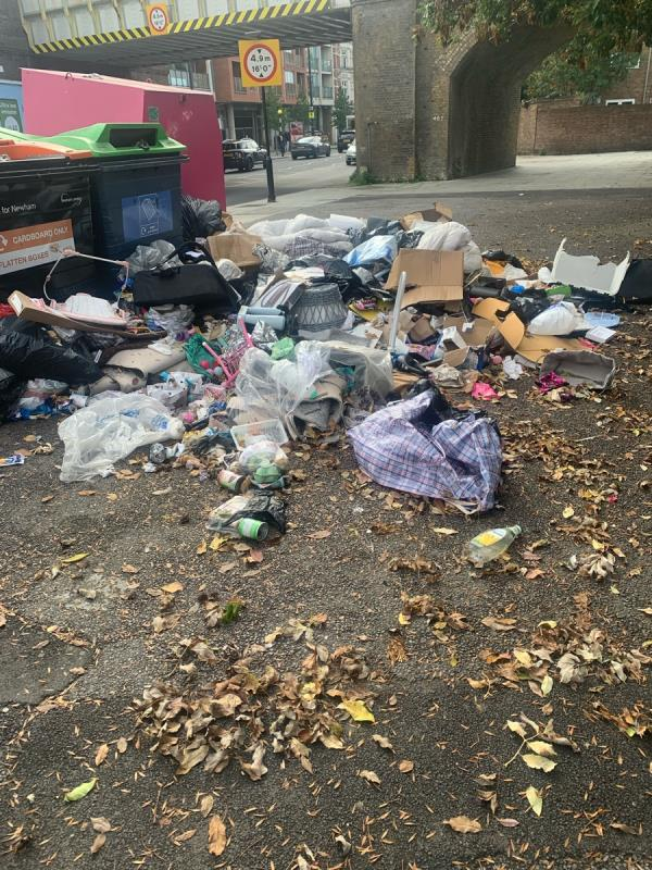 More rubbish dumped by the recycling bins again opposite the youth zone this a shit tip, it is almost covered half the pavement this is an absolute disgrace yet again Counsellors newham mayor no where to be seen and are doing nothing about it  image 1-1 Station Approach, London E7 0HU, UK